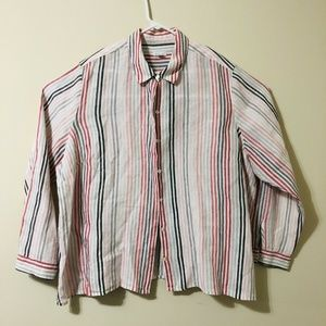 J Jill Shirt 3XL Blouse Linen White Pink Stripes